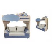 Детская двухъярусная кровать с диваном Еврокнижка