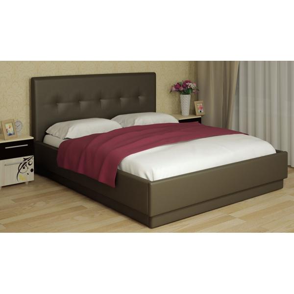 Кровать интерьерная кожаная с латами Локарно-FENGO