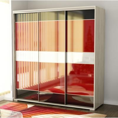 Трехстворчатый шкаф-купе со стеклом лакобель Панорама-14