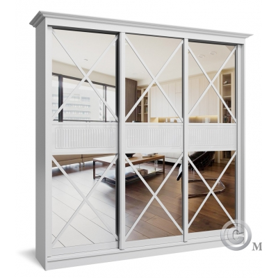 Трехдверный шкаф-купе с зеркалом в спальню Премиум-6